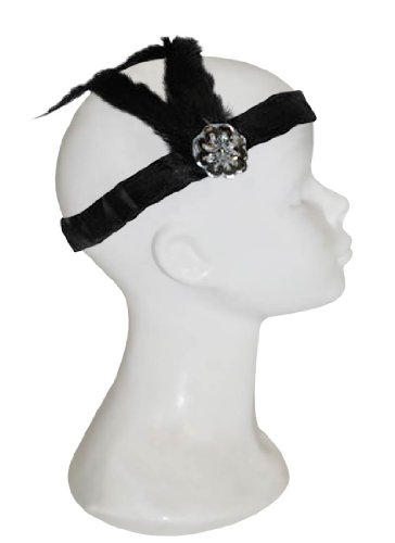 Black Flapper Headband With Feather - Adult Std. (Flapper Dancer)