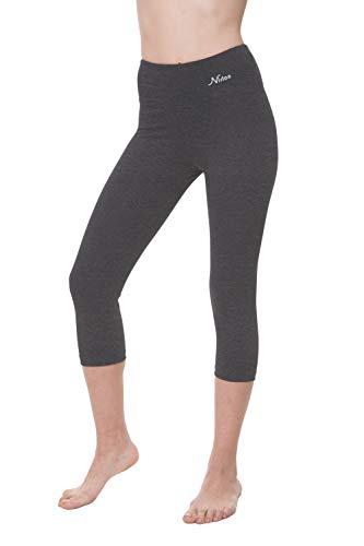 "NIRLON Capri Leggings for Women High Waist Workout Capris Yoga Pants Plus Size (S, Charcoal 18"" Inseam)"