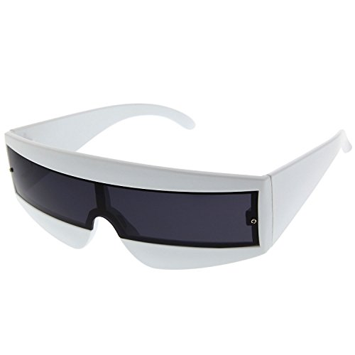 - grinderPUNCH Futuristic Cyclops Color Mirrored Lens Visor Sunglasses White