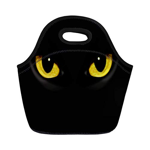Semtomn Lunch Tote Bag Yellow Panther Cat Eyes in Dark Night Green Black Reusable Neoprene Insulated Thermal Outdoor Picnic Lunchbox for Men -