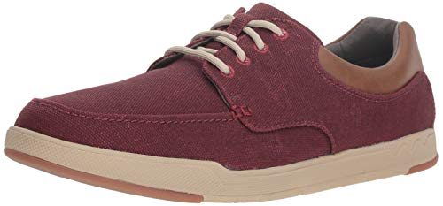 (Clarks Men's Step Isle Lace Shoe, burgundy canvas, 090 M US)