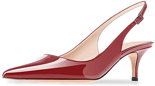 Ayercony Sandals for Woman, Kitten Heel Pumps Pointed Toe Shoes Slip On Sandal for Dress Red Wine Size 8.5 - Red Toe Patent Pointed Heels