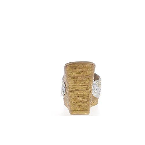 Gris offset Zuecos de tacón de 10cm y clavos placa de plata