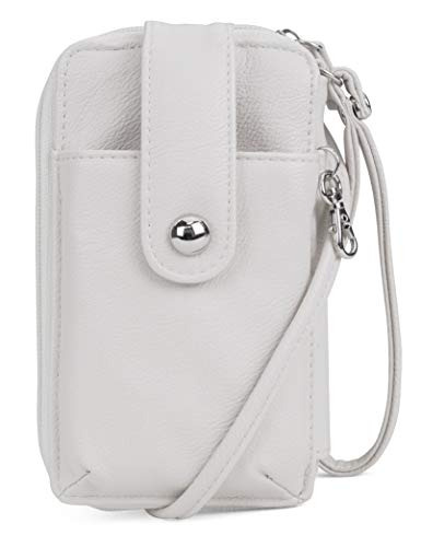 (MUNDI Jacqui Vegan Leather RFID Womens Crossbody Cell Phone Purse Holder Wallet (Bone))