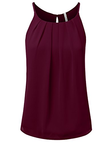 JJ Perfection Women's Round Neck Front Pleated Chiffon Cami Tank Top Burgundy ()