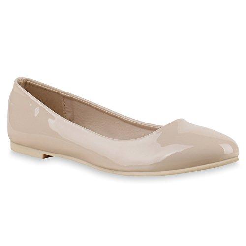 Stiefelparadies Klassische Damen Ballerinas Flats Leder-Optik Lack Metallic Schuhe Glitzer Slipper Slip Ons Übergrößen Abiball Flandell Nude Lack