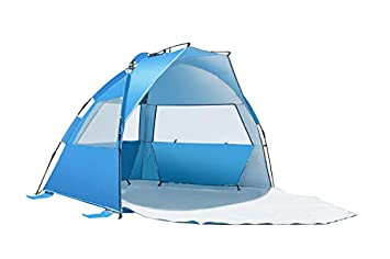 HOATANG iCorer Outdoors Easy Up Beach Cabana Tent Sun Shelter, Deluxe Large for 4 Perso Light Blue