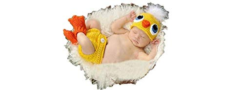Newborn Baby Girl/Boy Crochet Knit Costume Photography Prop Hats and Outfits (Yellow Baby Chicken) -