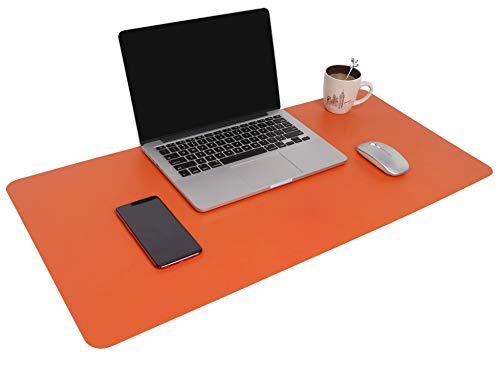 YSAGi Multifunctional Office Desk Pad, 31.5 x 15.7 Ultra Thin Waterproof PU Leather Mouse Pad, Dual Use Desk Writing Mat for Office/Home (31.5 x 15.7, Orange)