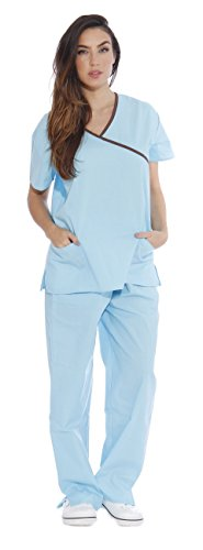 - 11149W Just Love Women's Scrub Sets / Medical Scrubs / Nursing Scrubs - S, Aqua with Chocolate Trim,Aqua With Chocolate Trim,Small