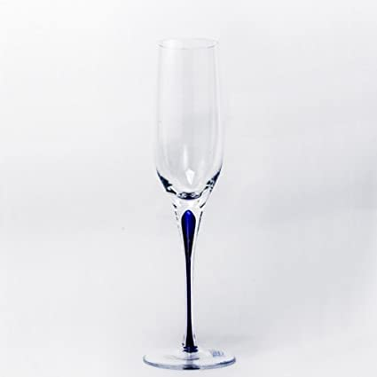 6fd3a8297181 Amazon.com | Blue Stem Crystal Champagne Flutes 7 oz Set-4 ...