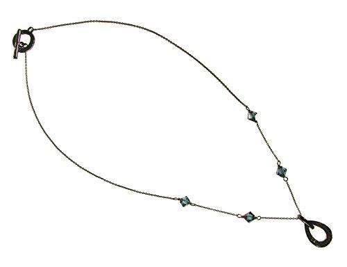 Adrienne Vittadini Nickel 18 inch CZ Pendant Teardrop Necklace, Blue