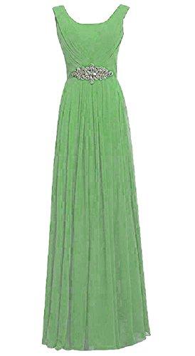 Kleid Rundhalsausschnitt Beauty Emily Trägern lang Party lichtgrün Strass awzCwIq