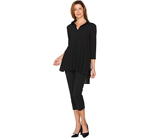Women with Control Crepe Jersey Tunic Cropped Pants Set Black PL New (Tunic & Cropped Pants Set)