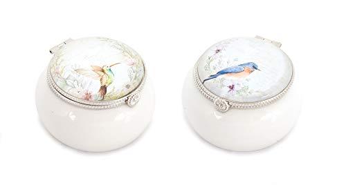 (Melrose Set of 2 Decorative Porcelain Keepsake Boxes with Bird Design)