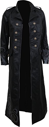 Direct Coat - Spiral - Womens - Vampire's KISS - Gothic Trench Coat PU-Leather Corset Back - L