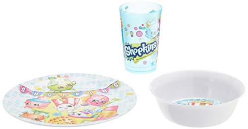 Zak Designs Shopkins Plate, Bowl & Cup Gift Set, Poppy Corn, D'lish Donut, Apple Blossom (Retirement Cookies)