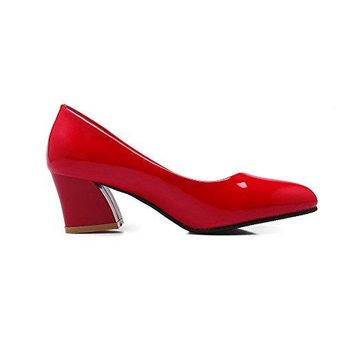 Allhqfashion Damesschoen Met Dichte Neus Hakken Stevige Pull-on Pumps-schoenen Rood