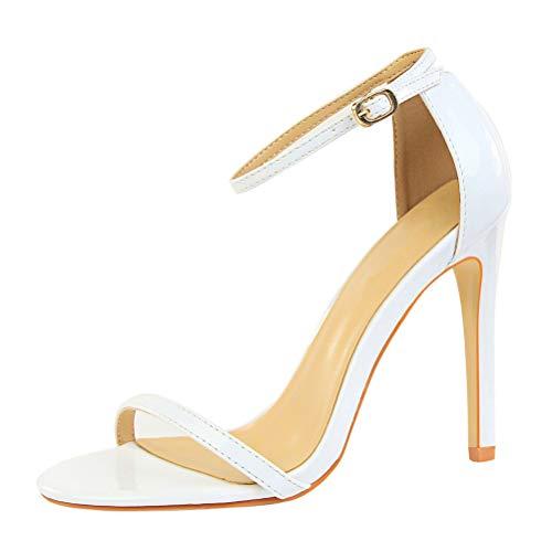 MMJULY Women's Open Toe Ankle Strap Stiletto High Heel Dress Sandal (US 6.5, White PU)
