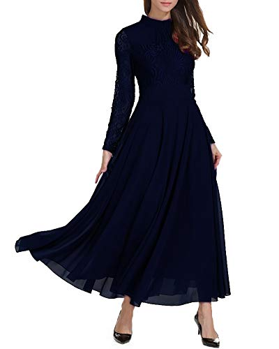 Aox Womens Classy Long Sleeve Lace A Line Long Maxi Party Bridesmaid Swing Dress (S, Navy) ()