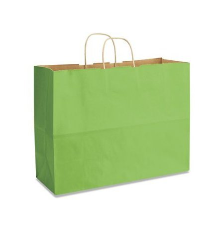 Lime Green Bags, Extra Large Kraft Paper Gift Wrap Shopping Bags, (Vogue Size 16W x 12H x 6), 25 Bags, Made in USA