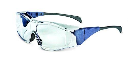 Uvex S3160 Ambient OTG Safety Eyewear, Medium Blue Frame, Clear Ultra-Dura Hardcoat Lens