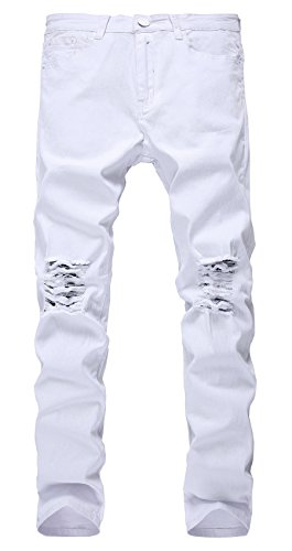 NITAGUT Men's Slim Fit Stretch Destroyed Ripped Skinny Denim Jeans (White Mens Jeans)