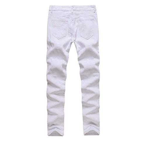 Usati Jeans Da Cotone Svago Uomo Tratto Pantaloni Skinny Denim Estivi Distrutti Bianca Fit Dei Slim Di I5x0IwqXP