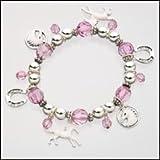 Girls / Ladies Pink Horse Stretch Charm Bracelet
