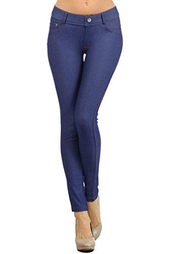 Yelete Womens Basic Five Pocket Stretch Jegging Tights Pants - Denim Blue/XXX-Large