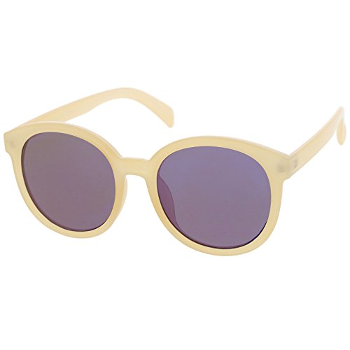 sunglassLA - Super Flat Colored Mirror Lens Oversize Round Sunglasses 54mm (Creme / - Sunglasses Spektre