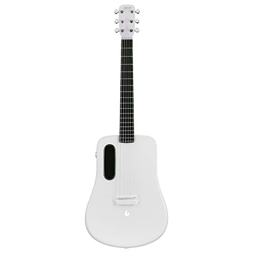 LAVA ME 2 Carbon Fiber Acoustic Guitar 36 inch Right Handed Beginner Guitar Accessory with Guitar Case, Guitar Picks (Acoustic Electric-White)