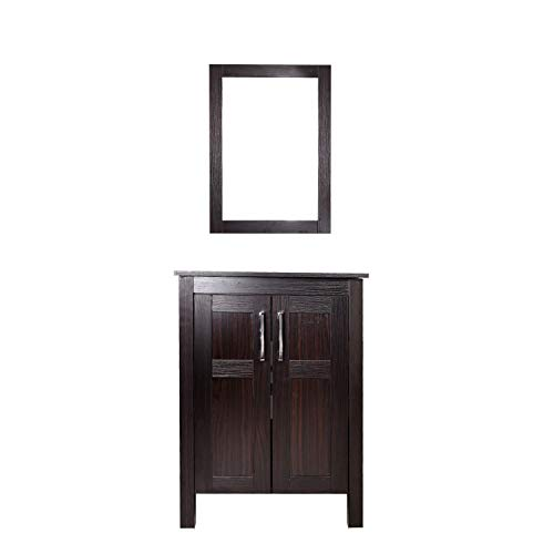 Elecwish Bathroom Vanity, Modern Stand Pedestal Cabinet Wood, Frosted Glass Shelf, Dark Espresso With Mirror, Black