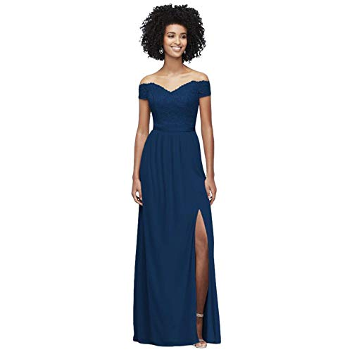 Off-The-Shoulder Lace and Mesh Bridesmaid Dress Style F19950, Marine, 8