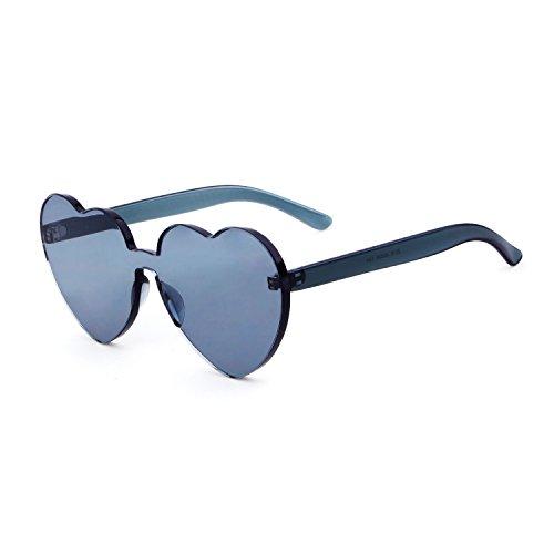 Heart Shape Rimless Sunglasses One Piece Transparent Candy Color Eyewear (Gray, - Transparent Sunglasses
