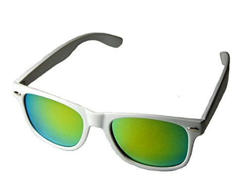 WebDeals - Color Mirror Reflective Lens and Dark Horn Rimmed Large Square Sunglasses - Sunglasses Lens White