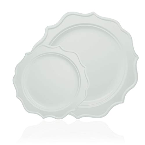 (Tiger Chef 96-Pack White Color Round Scalloped Rim Disposable Plastic Plate Set for 48 Guests Includes 48 10-Inch Dinner Plates, 48 8-Inch Salad Plates - BPA-Free)