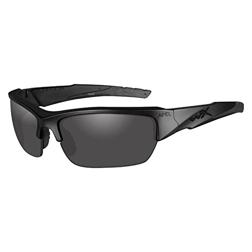 Changeable Matte Black Frame - Wiley X Valor APEL Sunglasses - Smoke Grey/Clear Lens - Matte Black Frame