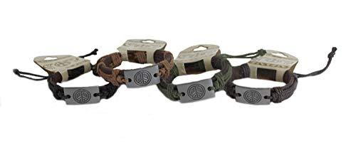 Trippies Leather Friendship Bracelets with Peace Sign Pendant Set of 4 - Boho Retro Zen Braided Adjustable Wristband Bracelet Gift Party Favor