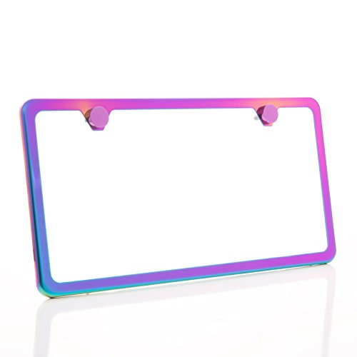 KA LEGEND One Polish Mirror Neo Chrome T304 Stainless Steel Two Hole Slim License Plate Frame Holder Front Or Rear Bracket with Metal Screw Cap