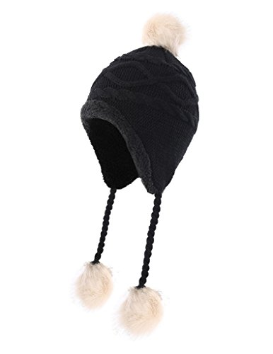 (Home Prefer Toddler Girls Sherpa Earflaps Hat Kids Winter Hat Knitted Beanie Fuzzy Peruvian Hat Black S)