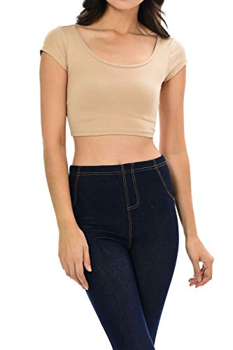 - Womens Trendy Solid Color Basic Scooped Neck and Back Crop Top Khaki Large