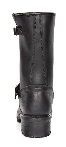 En Cuir Combat À Chaussures Les Bout Véritable Motard salut Sur Bottes De Rond Style Slip Ingénieur Noir 03tu nXxfPB