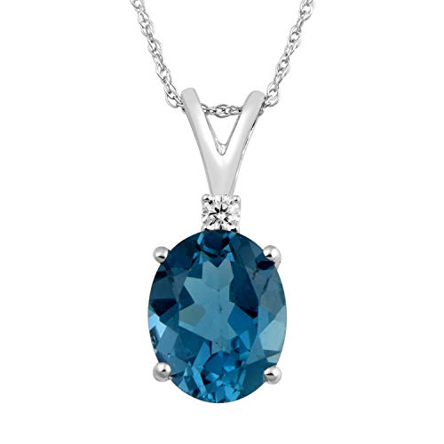 Jewelili 14kt White Gold 10x8mm Oval London Blue Topaz and Round Diamond Accent Pendant Necklace, 18