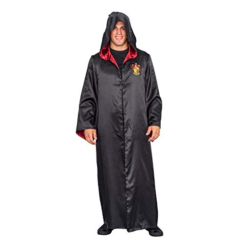 Harry Potter Gryffindor Costume Black and Red Long Robe with Hood (Adult S/M)]()