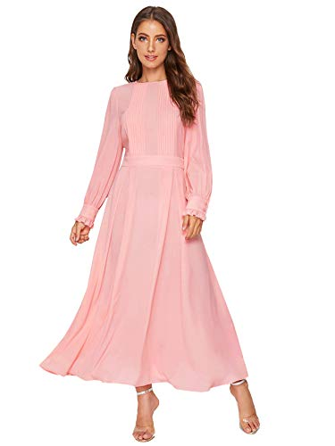 Milumia Women's Elegant Frilled Long Sleeve Pleated Fit & Flare Dress Pink M