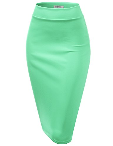 CLOVERY Slim Vintage Pencil Skirts for Women Cyan 2XL Plus Size