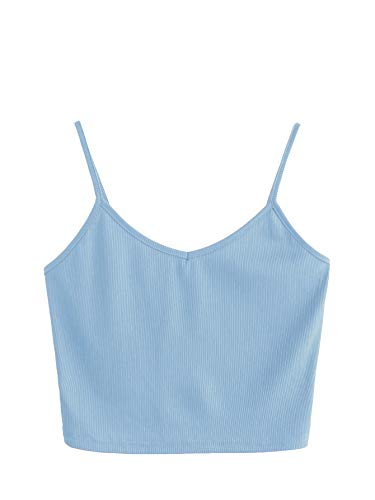 SheIn Women's Casual V Neck Sleeveless Ribbed Knit Cami Crop Top Blue