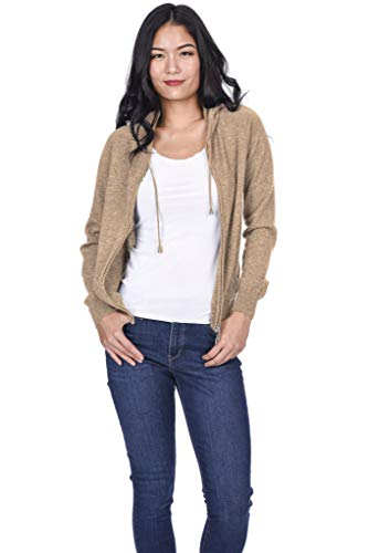 State Cashmere Women's 100% Pure Cashmere Full Zipper Hoodie (Small, Camel)