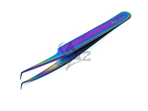Stainless Steel Multi Rainbow Color 3D Eyelash Extension Tweezers Pro Angled Fine Point 4.5